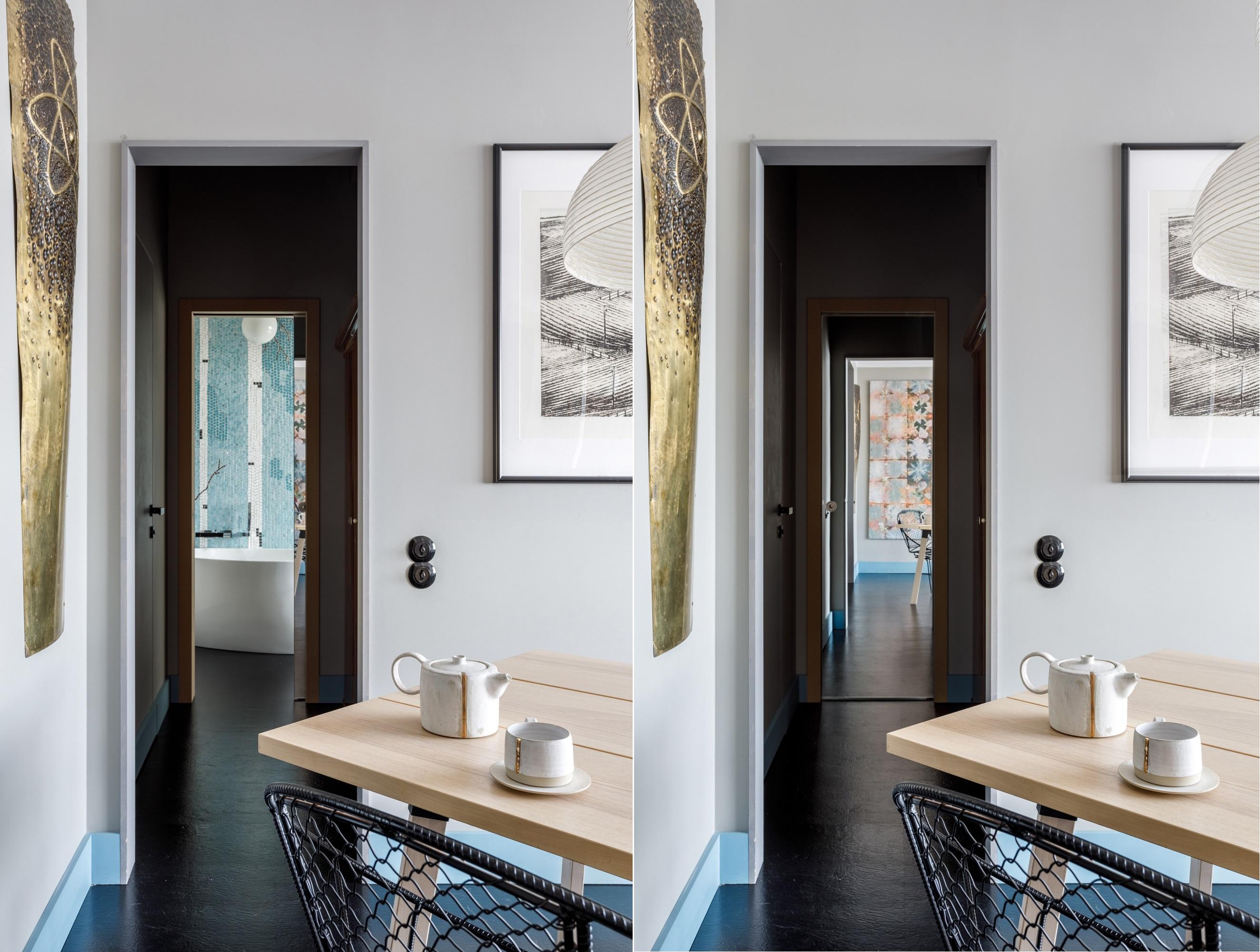 Гостиная, вид на ванную комнату